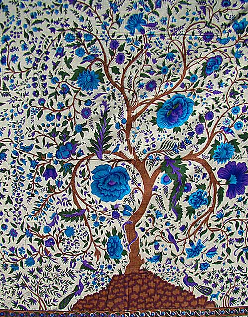 Persian Tree Of Life Ivory Or Blue Twin Full Tapestry