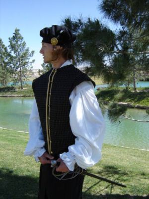 M'Lord William's Fine Doublet in Black Diamonds--Sleeveless