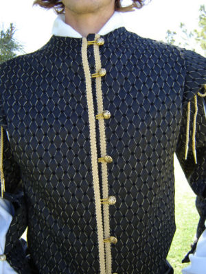 Lord William's Fine Doublet in Black Diamonds-- Front Detail