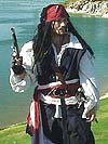 English / Dutch Renaissance Period Pirate Ensemble with Durable Open Chest Poet Shirt, Long Sea-Jerkin in Heavy Twill, Leather Belt, Sash, Crevatte, and Pants in Your Choice of Fabric and Color!!!