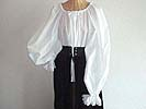 Renaissance Period Standard or Full Length Noblewoman's Chemise with Laced Sleeves and Ruffled Neckline in Linen or Cotton